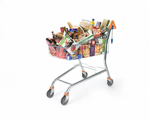 Supermarket trolley full of groceries containing gluten. Wellcome Images No. C0052366.