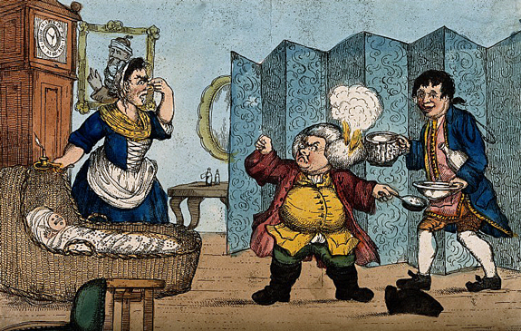 Dr. Slop with his wig on fire angrily gesticulating to Susannah who holds her nose near the wounded baby Tristram Shandy. Coloured etching after H.W. Bunbury after L. Sterne. Wellcome Images V0011226
