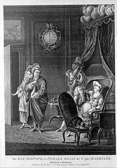A male-midwife suggestively examines an attractive pregnant. Wellcome Images L0006868