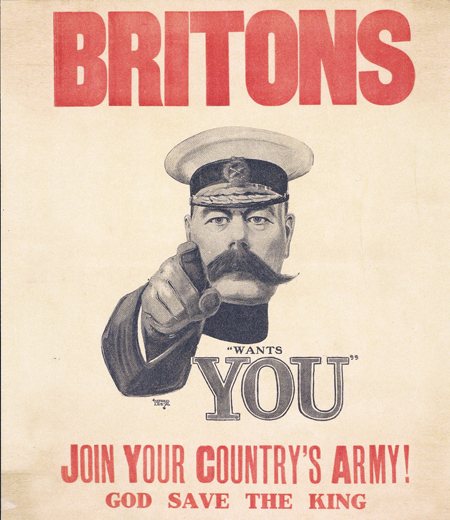 Iconic World War I recruitment poster featuring Lord Kitchener.
