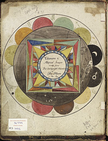 Coloured diagram pasted inside the cover entitled, 'Talismans and magical images made from the twenty-eight Mansions of the Moon. Pen and ink watercolour by Francis Barrett, 1801. Wellcome Images L0037435