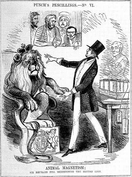"""Punch's Pencillings - No. VI - Animal Magnetism; Sir Rhubarb Pill mesmerising the British Lion."" Punch Volulme 1, Page 67, 1841. Wellcome Images L0028102"