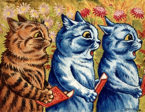 Painting of three cats holding hymn books