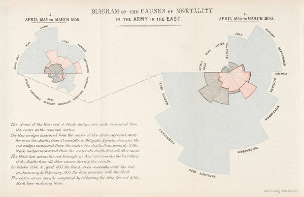 Diagram of the causes of mortality in the army. Wellcome Images No. L0041105.