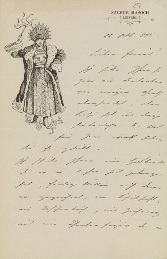Letter from L. von Sacher- Masoch. Wellcome Images No.L0072452.