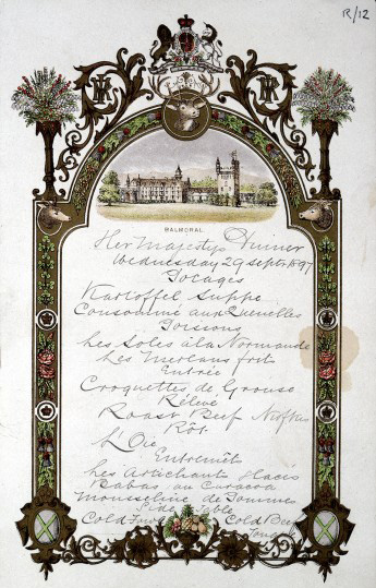 L0024506 Menu for Queen Victoria's dinner at Balmoral Castle, 1897. Wellcome Image no. L0024506