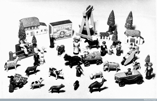 Small toys used in Klein's child analysis. Wellcome Images no. L0019105