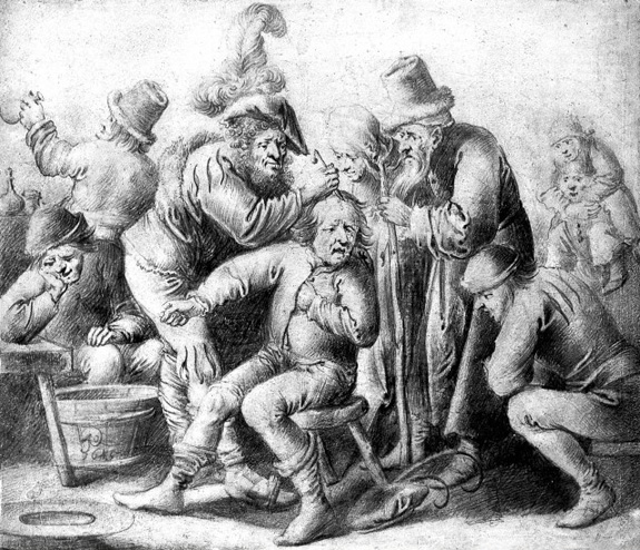 An itinerant surgeon extracting stones from a man's head; symbolising the expulsion of 'folly'(insanity), they are surrounded by a group of people. Pencil drawing by Pieter Jansz Quast