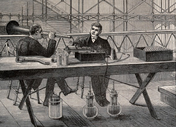 Acoustics: an Edison-type phonograph demonstrated at an exhibition. Wood engraving. WI no. V0025353