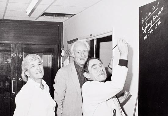 Leslie Barnett, Francis Crick and Sydney Brenner