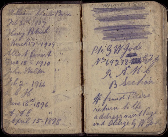 World War One soldier's diary