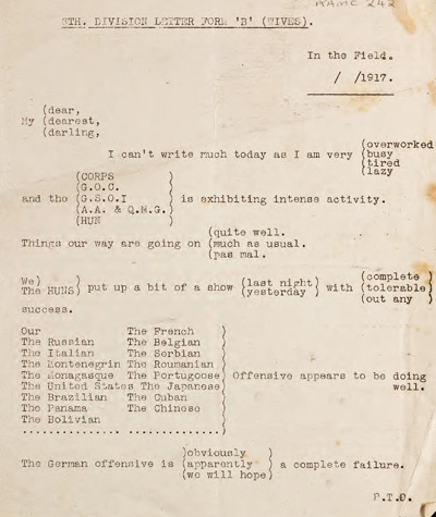 Letter from RAMC archive
