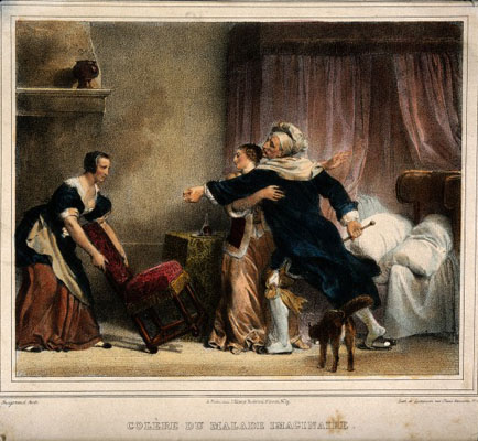Two women trying to seat a hysterical hypochondriac while a Wellcome Images No.V0015121