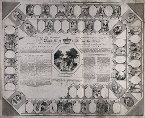 A layout for a board game, with the rules of the game. Wellcome Images No. V0041173.