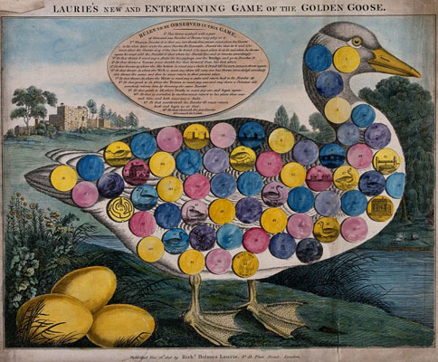 A large goose, with three golden eggs. Wellcome Images No. V0040571