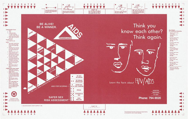 A book cover designed as a board game about safer sex risks. Wellcome Images No. L0052631