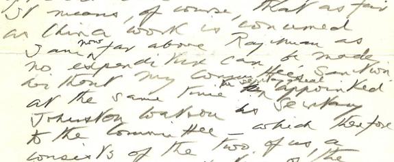 Extract from 1937 letter describing Mackenzie's relationship with Rajchman. Image credit: David Macfadyen.