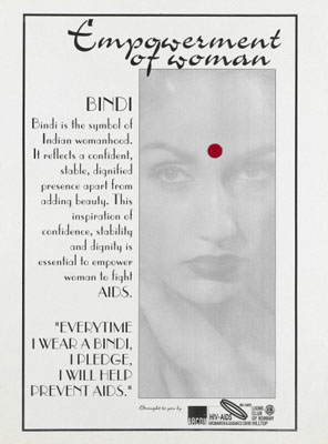 A red Bindi spot representing a pledge to fight AIDS. Wellcome Images No.L0054433
