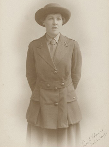 Dr Letitia Fairfield in army, 1917. Photograph by Royal Hardie (Salisbury). Wellcome Image no. L0034543