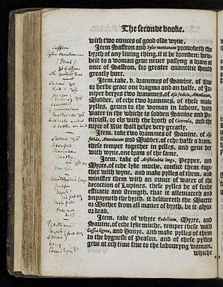 Page with hand-written notes from 'The Birth of Mankynde' 1565 Wellcome Images L0047994