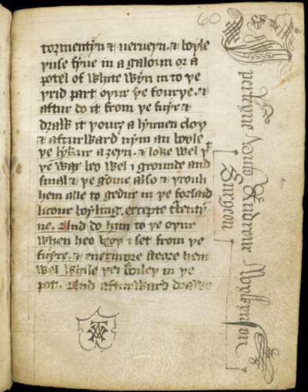 Inscription of Andrewe Wylkynson. MS 5262. Wellcome Images L0064565