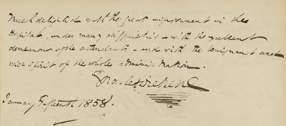 Charles Dickens entry in St Luke's Hospital visitors book