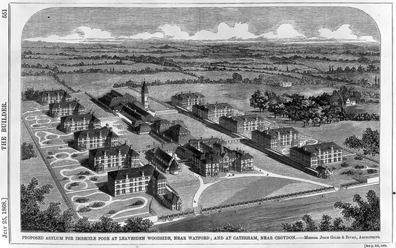 Proposed asylum for imbecile poor at Caterham, Surrey. Engraving  Page 551, The builder,  July 25th 1868  Wellcome Images L0011785