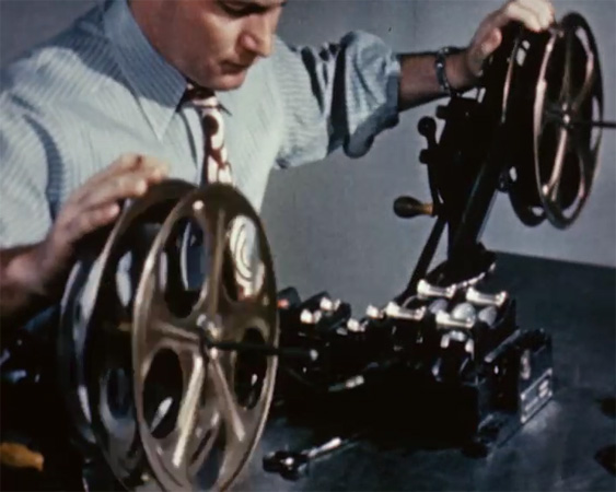 Editing film, from Medical Motion Picture, 1947.
