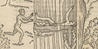 Woodcut of swimming.