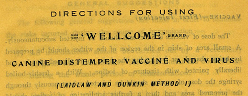 Product information for distemper vaccine