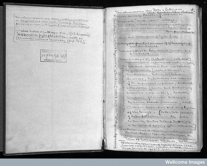 Flyleaf of Parkes Weber's bound volume of papers on 'Biliary Cirrhosis' PP/FPW/B.38/1