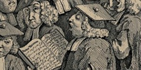 V0049241 Scholars at a lecture. Engraving by W. Hogarth.