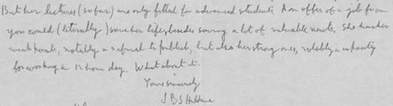 Extract of letter from JBS Haldane
