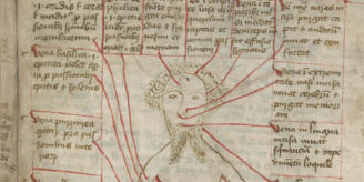 Vein man in medieval manuscript.