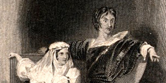 V0036035ER A man pointing to a ghost and asking a Queen if she can see Credit: Wellcome Library, London. Wellcome Images images@wellcome.ac.uk http://wellcomeimages.org A man pointing to a ghost and asking a Queen if she can see it too; she replies not. A scene from Shakespeare's Hamlet.  Engraving by T. Phillibrown after J. Meadows. Published:  -   Copyrighted work available under Creative Commons Attribution only licence CC BY 4.0 http://creativecommons.org/licenses/by/4.0/