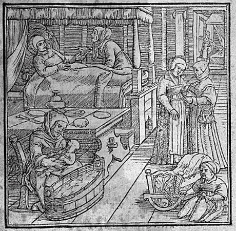 illustration showing birth scene, frontispiece to  Ruff, De conceptu et generatione hominis,  Zurich: C. Froschover, 1554. Wellcome Images L0032614
