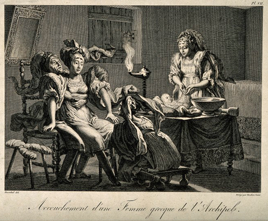 A seated Greek woman on an obstetrical stool being held in position by her husband whilst giving birth aided by a midwife, another attendant dresses the first baby. Line engraving by A. Tardieu after Maréchal. Wellcome Images V0014911