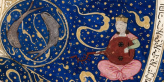 """L0040149 Horoscope from 'The book of birth of Iskandar"""" Credit: Wellcome Library, London. Wellcome Images images@wellcome.ac.uk http://wellcomeimages.org Detail showing a planet in the house of Pisces, from the Horoscope from 'The book of birth of Iskandar"""" c.1411 The book of the birth of Iskandar, {European foliation, L to R}. Published:  -   Copyrighted work available under Creative Commons Attribution only licence CC BY 4.0 http://creativecommons.org/licenses/by/4.0/"""