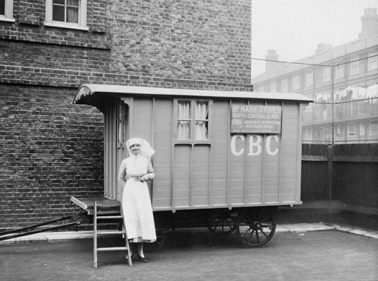 Birth control clinic in caravan, with nurse. Wellcome Images No. L0013861.