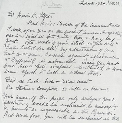 Letter to Marie Stopes  Wellcome Images No.L0034027.