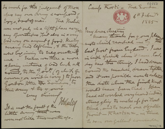 Letter from Lord Wolseley to Alfred Austin