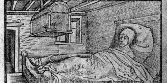Woodcut of man suffering from pox.