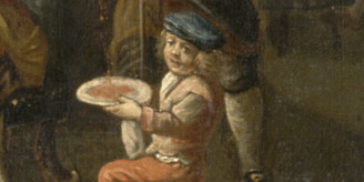 Detail from painting: boy with tray of blood.