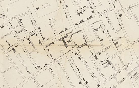 Map showing deaths from cholera in London, 1854-1855. From Snow's report 'On the mode of communication of cholera', 1855