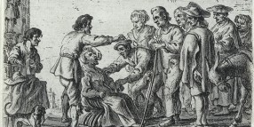 A travelling healer demonstrating the extraction of a tooth.