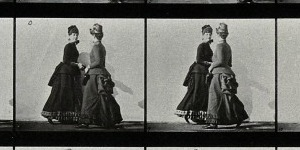 Women are passing each other by. Photogravure after Eadweard Muybridge, 1887.