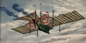A large flying machine with sails and propellers is travelling over a town