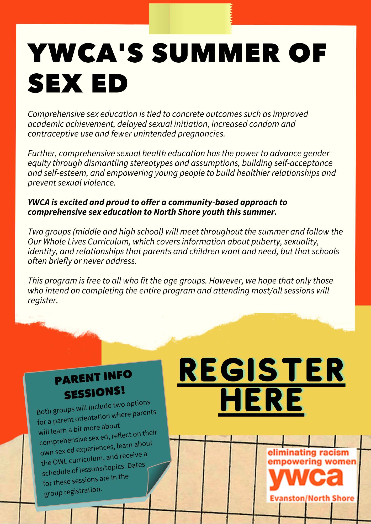 YWCA's Summer of Sex Ed Flyer