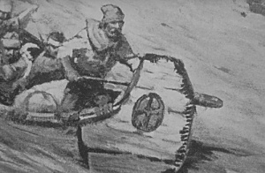 artist's conception of a fur trader and canoe