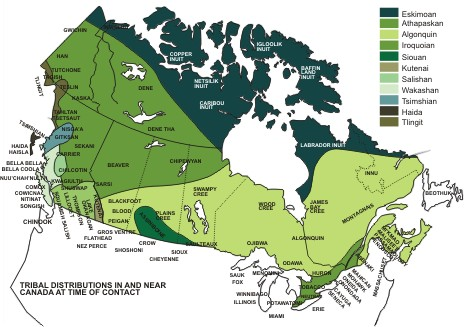 Tribal Distribution in and near Canada at time of contact